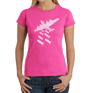 LA Pop Art Women's Word Art T-Shirt - DROP BEATS NOT BOMBS