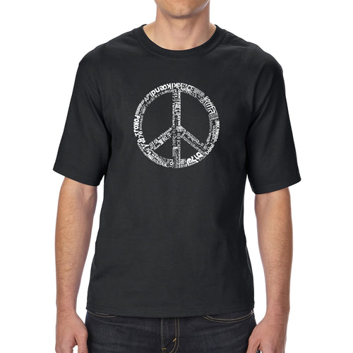 LA Pop Art Men's Tall Word Art T-shirt - THE WORD PEACE IN 77 LANGUAGES