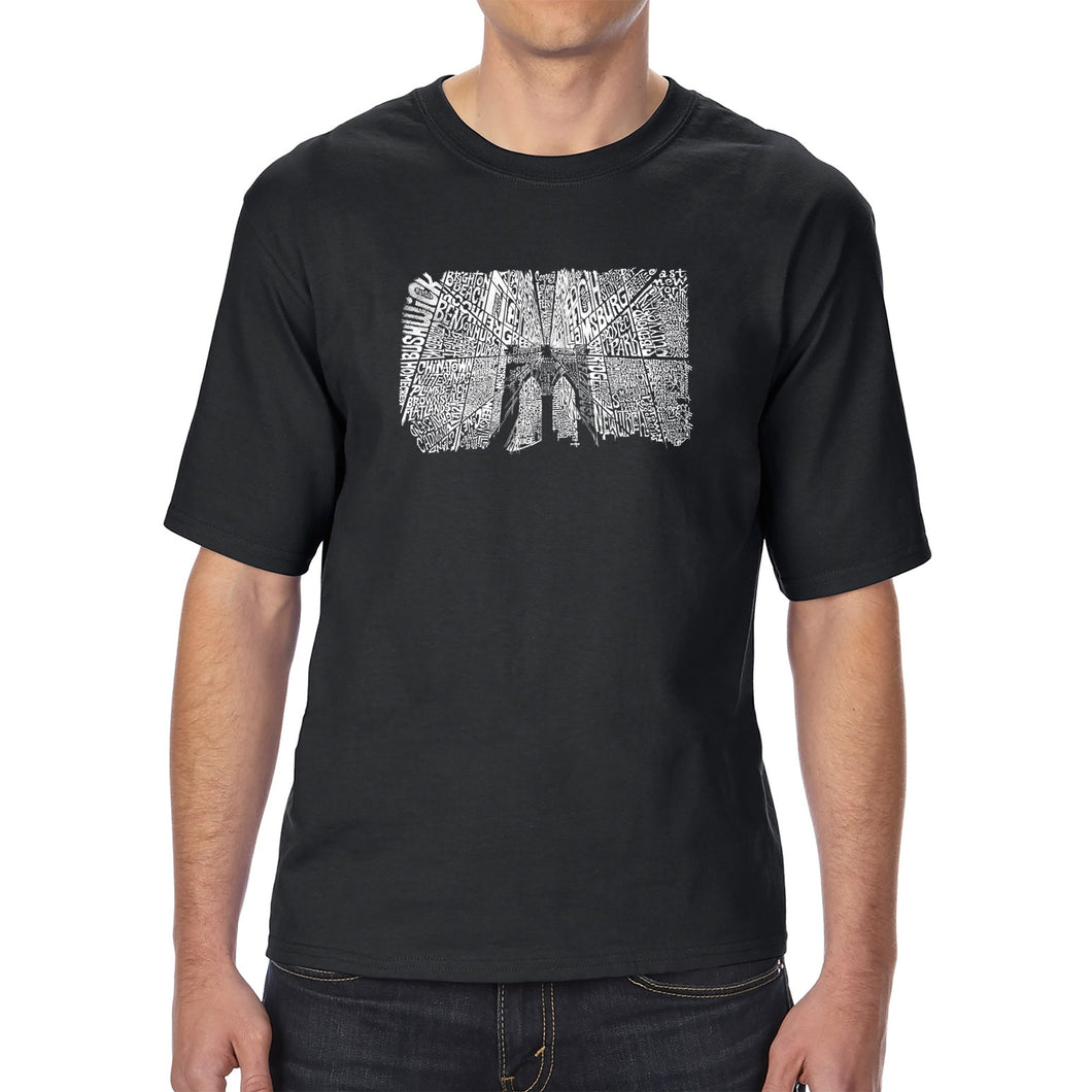 LA Pop Art Men's Tall Word Art T-shirt - Brooklyn Bridge