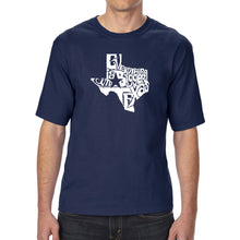 Load image into Gallery viewer, LA Pop Art Men's Tall Word Art T-shirt - Everything is Bigger in Texas