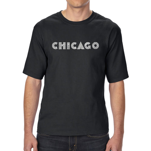 LA Pop Art Men's Tall Word Art T-shirt - CHICAGO NEIGHBORHOODS