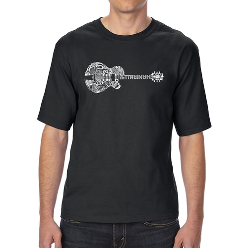 LA Pop Art Men's Tall Word Art T-shirt - Country Guitar