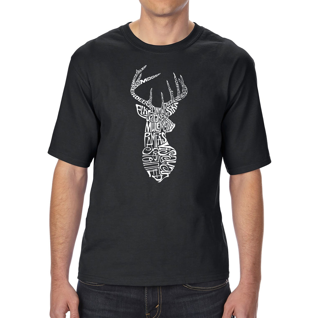 LA Pop Art Men's Tall Word Art T-shirt - Types of Deer