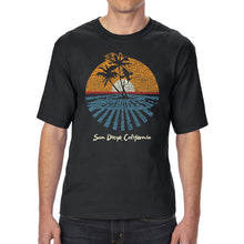Load image into Gallery viewer, LA Pop Art Men's Tall Word Art T-shirt - Cities In San Diego