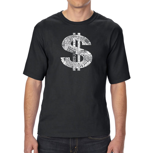 LA Pop Art Men's Tall Word Art T-shirt - Dollar Sign