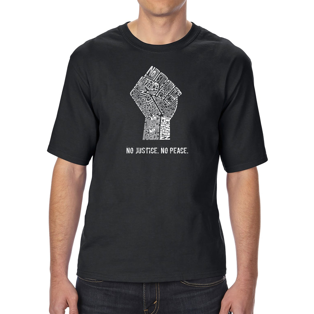LA Pop Art Men's Tall Word Art T-shirt - No Justice, No Peace
