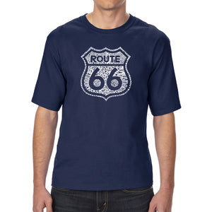LA Pop Art Men's Tall Word Art T-shirt - Get Your Kicks on Route 66