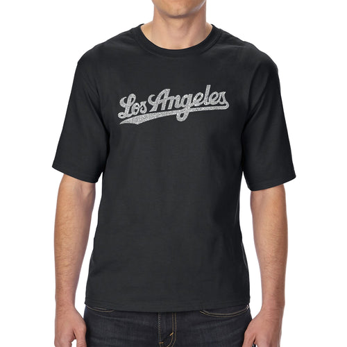 LA Pop Art Men's Tall Word Art T-shirt - LOS ANGELES NEIGHBORHOODS