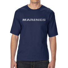 Load image into Gallery viewer, LA Pop Art Men's Tall Word Art T-shirt - LYRICS TO THE MARINES HYMN