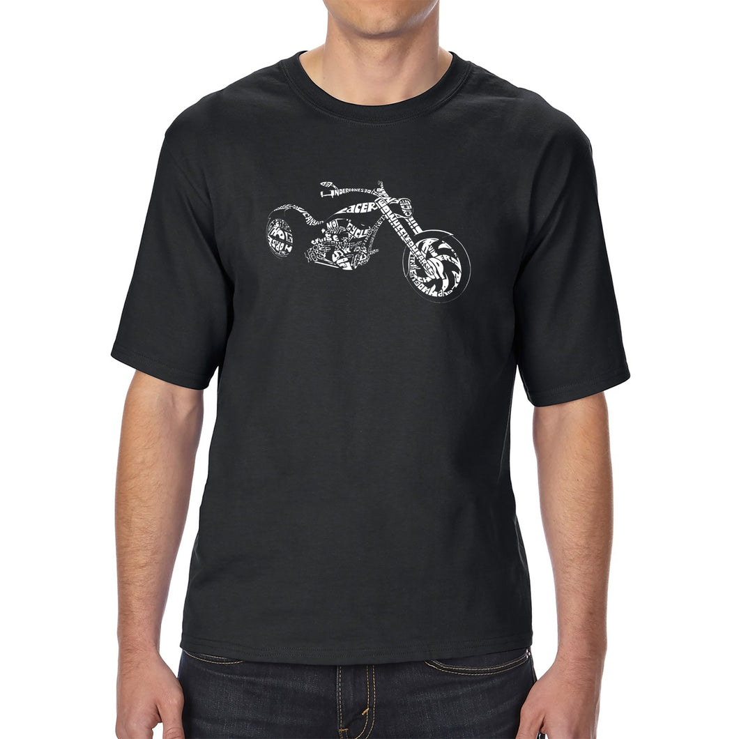 LA Pop Art Men's Tall Word Art T-shirt - MOTORCYCLE
