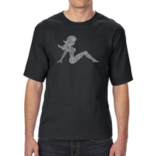 Load image into Gallery viewer, LA Pop Art Men's Tall Word Art T-shirt - Mudflap Girl - Keep on Truckin