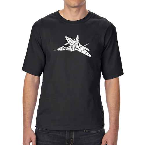 LA Pop Art Men's Tall Word Art T-shirt - FIGHTER JET - NEED FOR SPEED