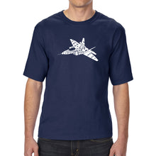 Load image into Gallery viewer, LA Pop Art Men's Tall Word Art T-shirt - FIGHTER JET - NEED FOR SPEED