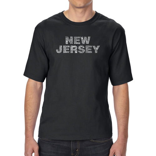 LA Pop Art Men's Tall Word Art T-shirt - NEW JERSEY NEIGHBORHOODS