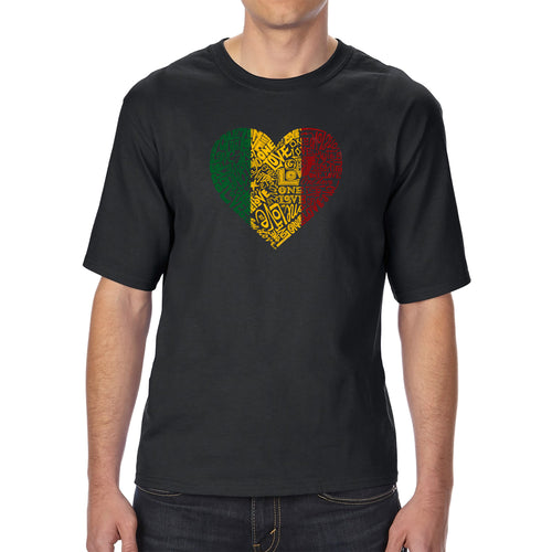 LA Pop Art Men's Tall Word Art T-shirt - One Love Heart