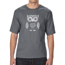 Load image into Gallery viewer, LA Pop Art Men's Tall Word Art T-shirt - Owl