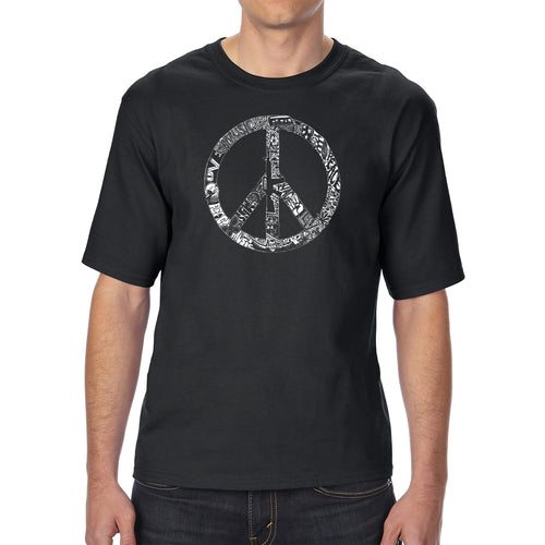 LA Pop Art Men's Tall Word Art T-shirt - PEACE, LOVE, & MUSIC
