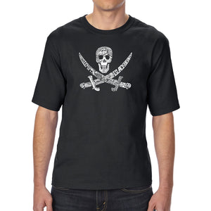 LA Pop Art Men's Tall Word Art T-shirt - PIRATE CAPTAINS, SHIPS AND IMAGERY