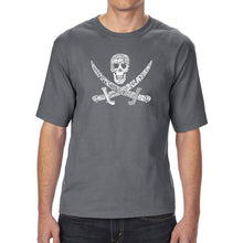 Load image into Gallery viewer, LA Pop Art Men's Tall Word Art T-shirt - PIRATE CAPTAINS, SHIPS AND IMAGERY