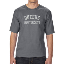 Load image into Gallery viewer, LA Pop Art Men's Tall Word Art T-shirt - POPULAR NEIGHBORHOODS IN QUEENS, NY