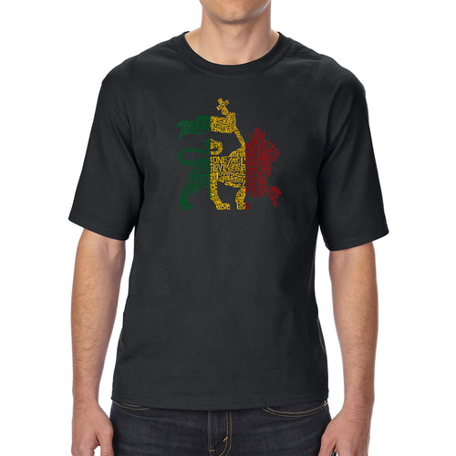 LA Pop Art Men's Tall Word Art T-shirt - Rasta Lion - One Love