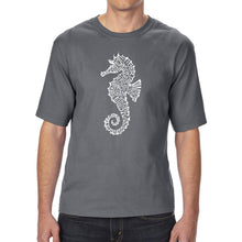 Load image into Gallery viewer, LA Pop Art Men's Tall Word Art T-shirt - Types of Seahorse