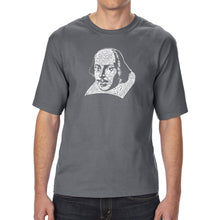 Load image into Gallery viewer, LA Pop Art Men's Tall Word Art T-shirt - THE TITLES OF ALL OF WILLIAM SHAKESPEARE'S COMEDIES & TRAGEDIES