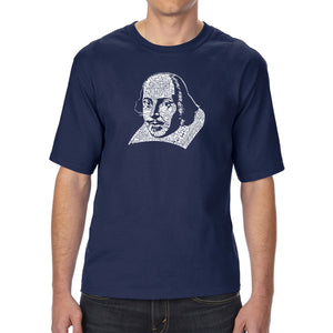 LA Pop Art Men's Tall Word Art T-shirt - THE TITLES OF ALL OF WILLIAM SHAKESPEARE'S COMEDIES & TRAGEDIES