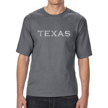 Load image into Gallery viewer, LA Pop Art Men's Tall Word Art T-shirt - THE GREAT CITIES OF TEXAS