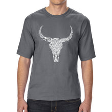 Load image into Gallery viewer, LA Pop Art Men's Tall Word Art T-shirt - Texas Skull