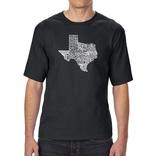 LA Pop Art Men's Tall Word Art T-shirt - The Great State of Texas