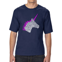 Load image into Gallery viewer, LA Pop Art Men's Tall Word Art T-shirt - Unicorn