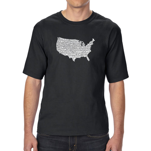 LA Pop Art Men's Tall Word Art T-shirt - THE STAR SPANGLED BANNER
