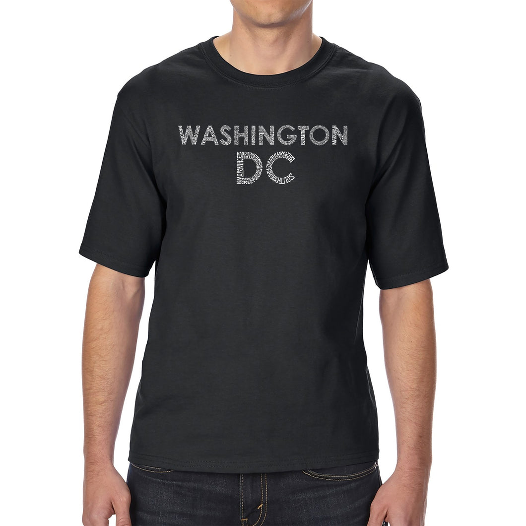 LA Pop Art Men's Tall Word Art T-shirt - WASHINGTON DC NEIGHBORHOODS