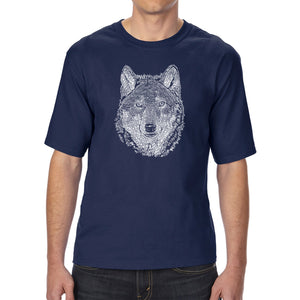 LA Pop Art Men's Tall Word Art T-shirt - Wolf