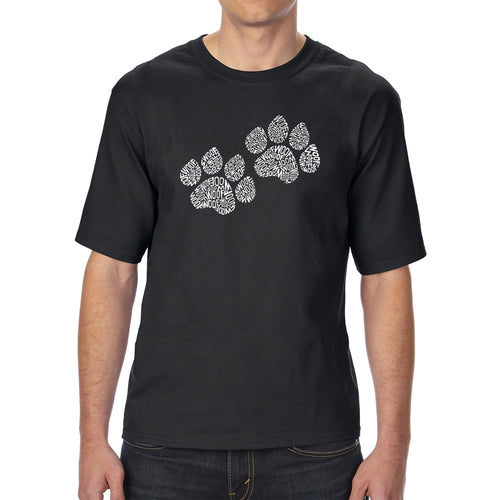 LA Pop Art Men's Tall Word Art T-shirt - Woof Paw Prints