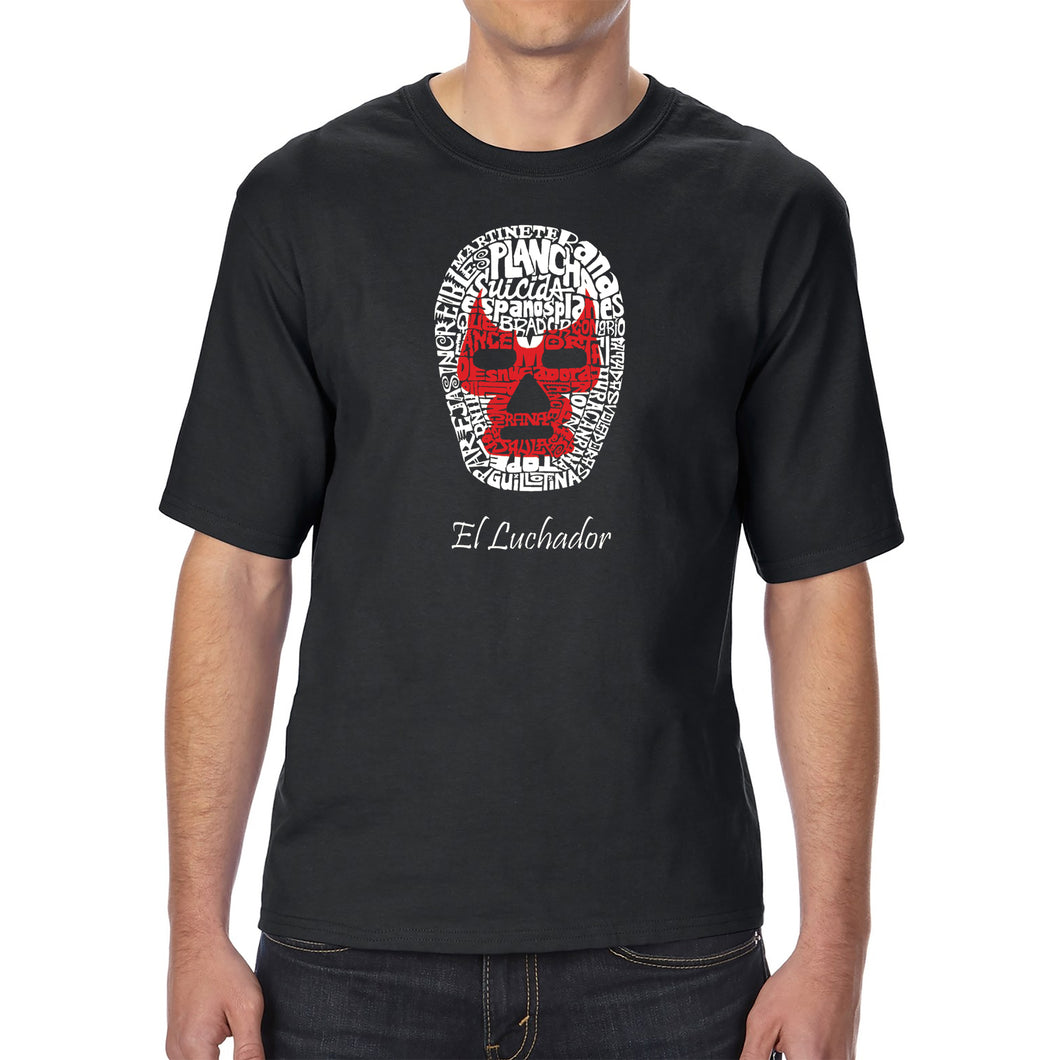 LA Pop Art Men's Tall Word Art T-shirt - MEXICAN WRESTLING MASK