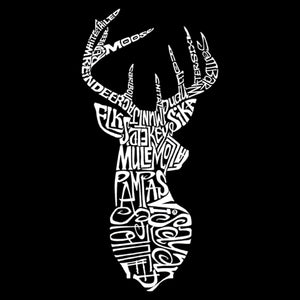 LA Pop Art Men's Word Art Hooded Sweatshirt - Types of Deer