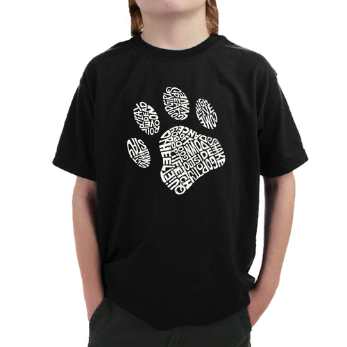 LA Pop Art Boy's Word Art T-shirt - Dog Paw