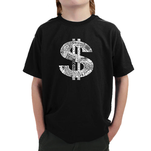 LA Pop Art Boy's Word Art T-shirt - Dollar Sign