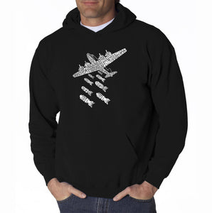 LA Pop Art Men's Word Art Hooded Sweatshirt - DROP BEATS NOT BOMBS