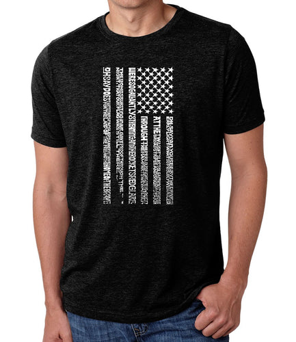 LA Pop Art Men's Premium Blend Word Art T-shirt - National Anthem Flag