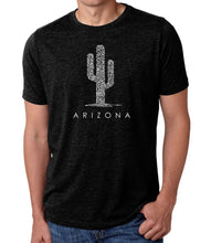 Load image into Gallery viewer, LA Pop Art Men's Premium Blend Word Art T-shirt - Arizona Cities