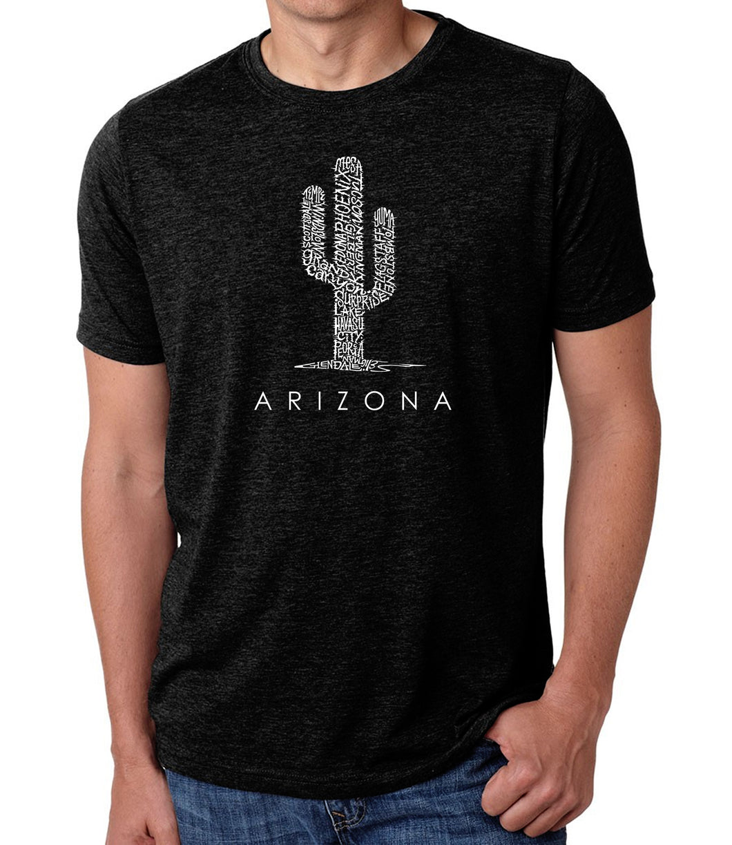 LA Pop Art Men's Premium Blend Word Art T-shirt - Arizona Cities