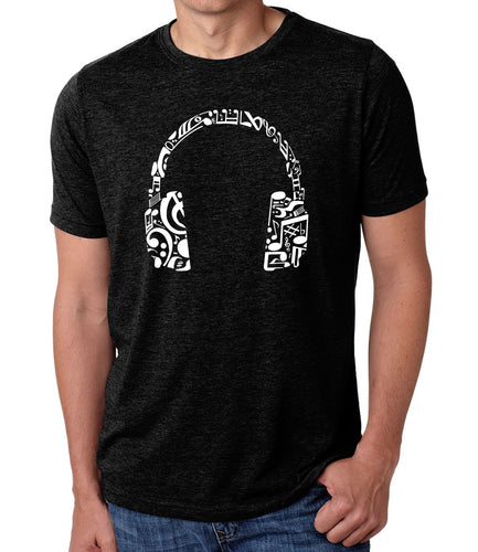 LA Pop Art Men's Premium Blend Word Art T-shirt - Music Note Headphones