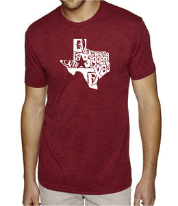 LA Pop Art Men's Premium Blend Word Art T-shirt - Everything is Bigger in Texas