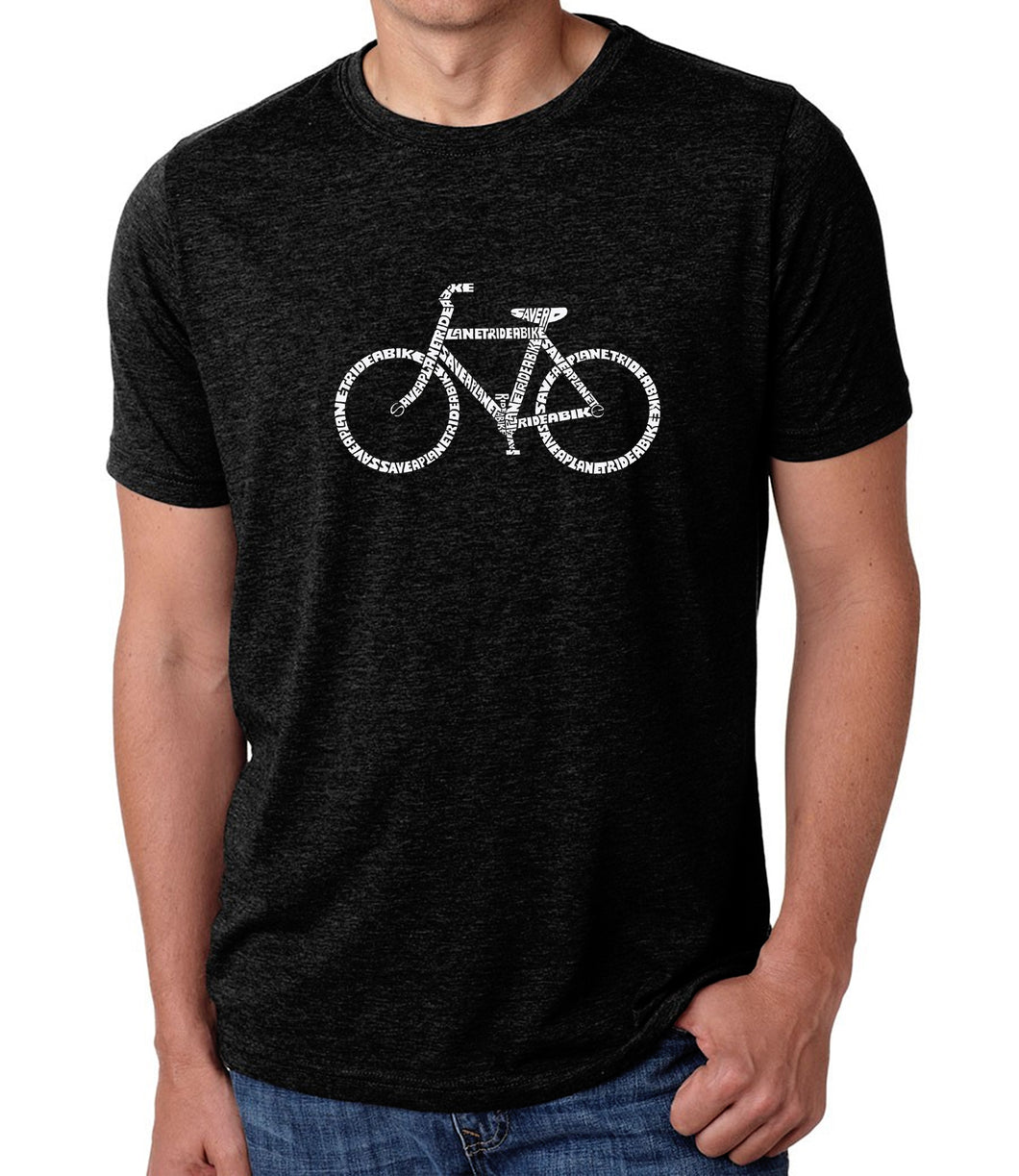 LA Pop Art Men's Premium Blend Word Art T-shirt - SAVE A PLANET, RIDE A BIKE