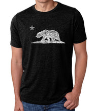 Load image into Gallery viewer, LA Pop Art Men's Premium Blend Word Art T-shirt - California Bear