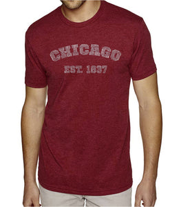 LA Pop Art Men's Premium Blend Word Art T-shirt - Chicago 1837