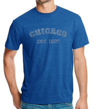 Load image into Gallery viewer, LA Pop Art Men's Premium Blend Word Art T-shirt - Chicago 1837